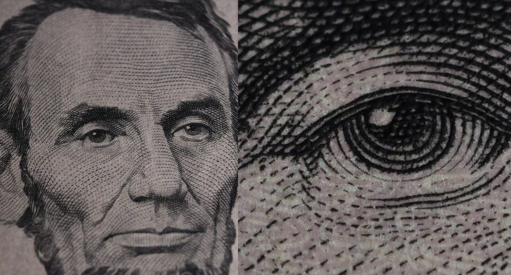 Lines on Lincoln's face on a $5 bill