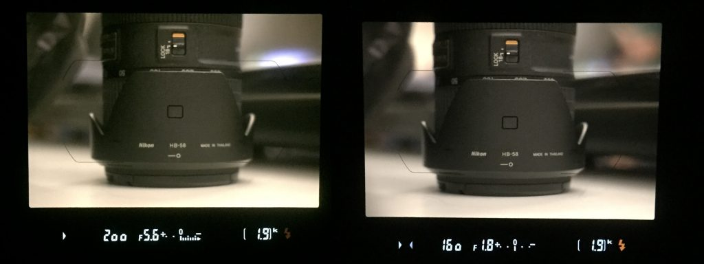 Left: Settings in viewfinder with metering indicating underexposure. Right: Settings in viewfinder with metering indicating proper exposure.