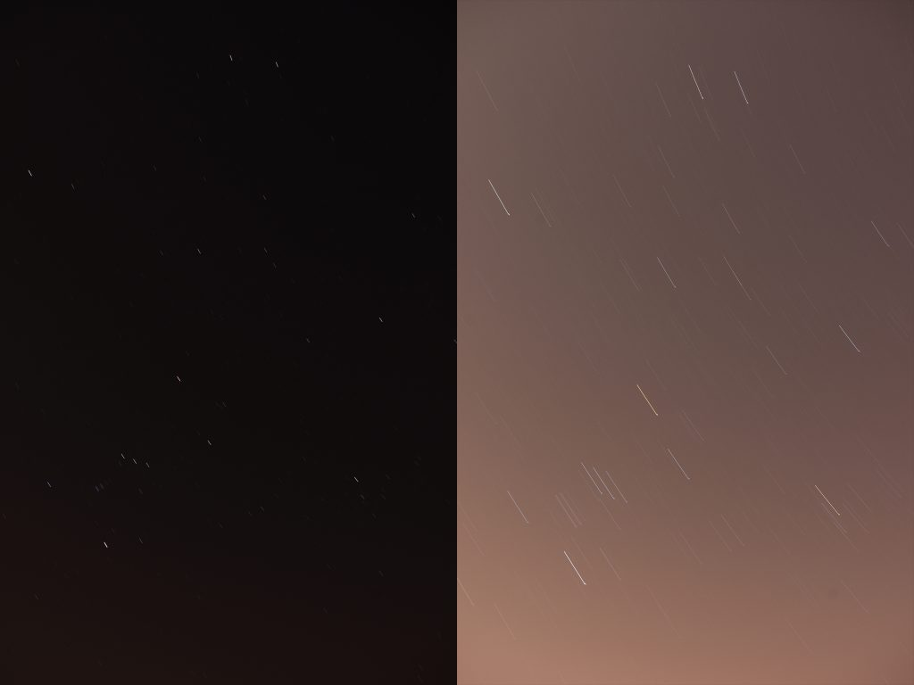 Left: Shot with a 30-second shutter speed. Black sky has no visible artificial light in it. Short star trails. Right: Shot with a several minute exposure. Very pronounced star trails but has an orange tint from street lights nearby. The trails are not smooth due to slight movements on the tripod.