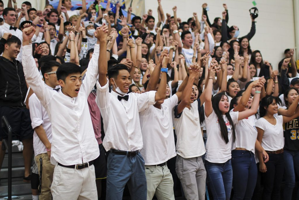 Day 5: In their final chance to score more points, the seniors perform the All-School Cheer for the judges. Photograph by Ryan Su.