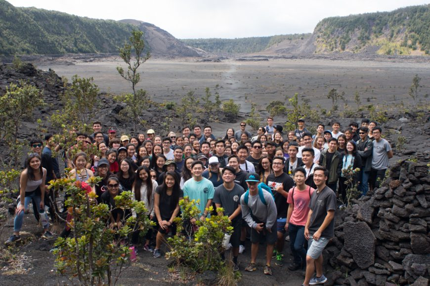 The Class of 2017 take a class picture in the Kīlauea Iki Crater lava lake. Photograph by Ryan Su ('17)