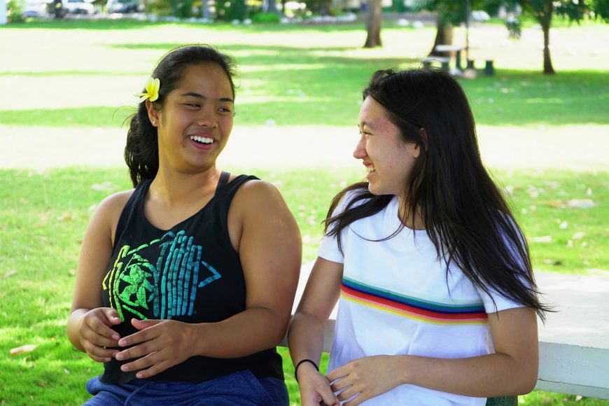 Reagan Nishimura (left) and Ciyana Davis enjoy a free afternoon at camp. Photograph by Kaycee Nakashima ('20)