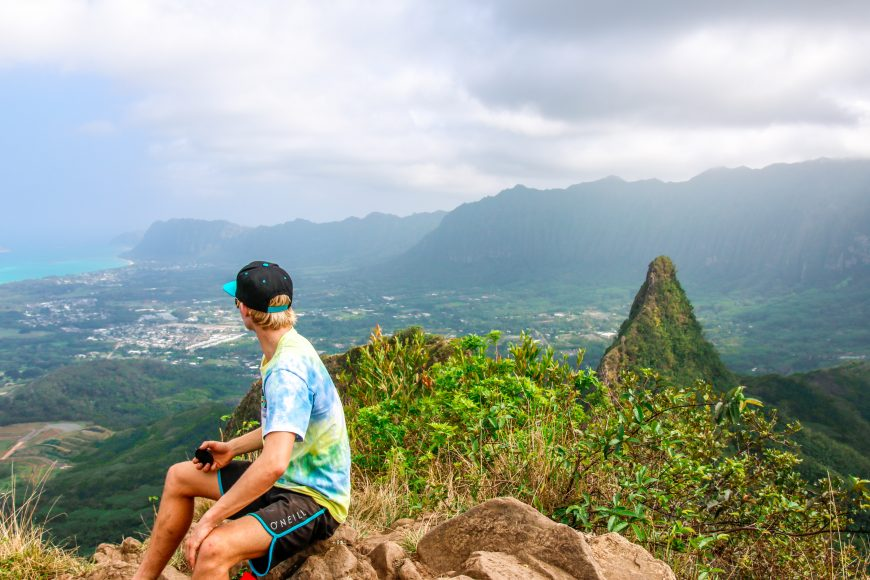 At the first peak of Olomana, Kailua. Photograph by Nui Sabas.