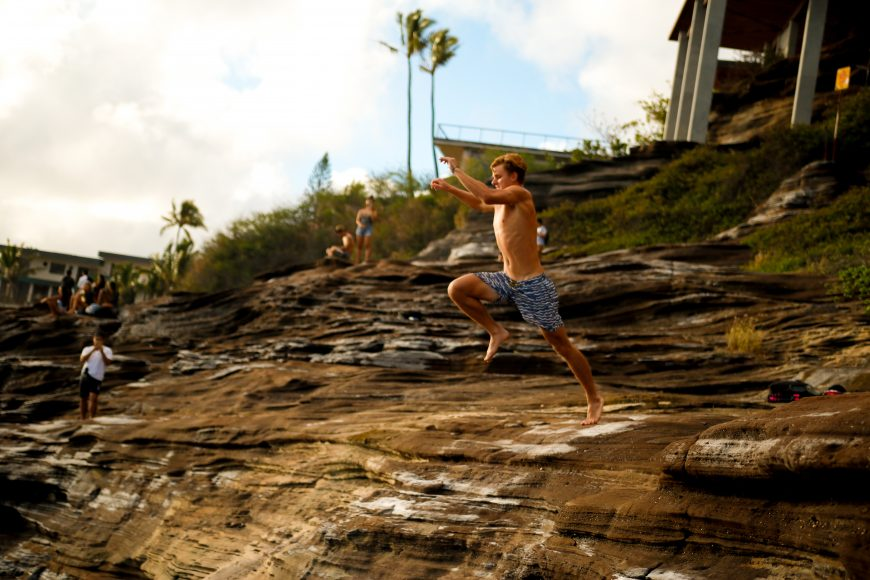 Spitting Cave jumper, Portlock, Hawaii Kai. Photograph by Nui Sabas.
