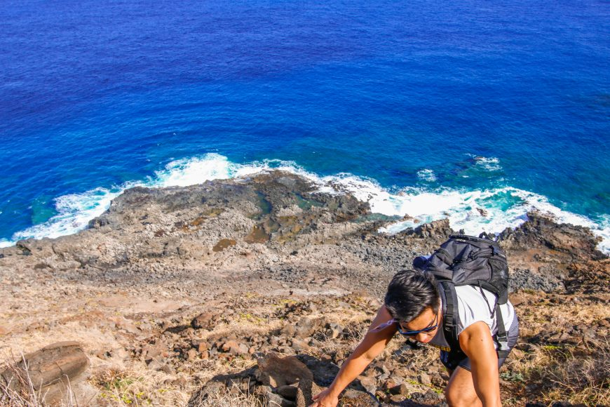 Hiking back from the Makapu'u tide pools. Photograph by Nui Sabas.