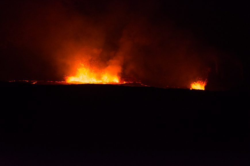 View of the lava in the Halemaumau Crater lake. Photograph by Ryan Su ('17)