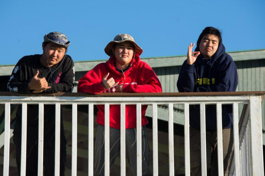(L-R) Seniors DJ Sur, Tucker Miller and Ty Minatoya at Kahua Ranch. Photograph by Ryan Su ('17)