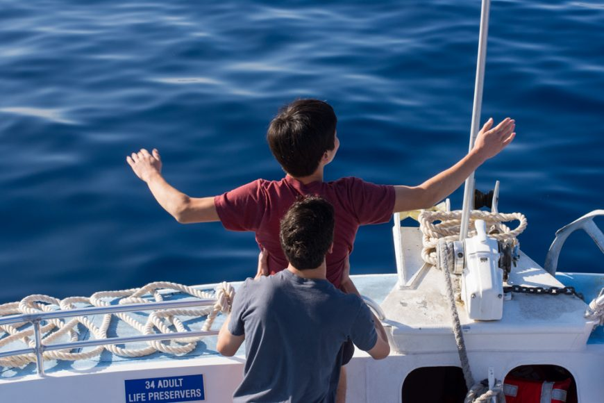 """Seniors re-enacting a famous scene from the movie """"Titanic."""" Photograph by Ryan Su ('17)"""