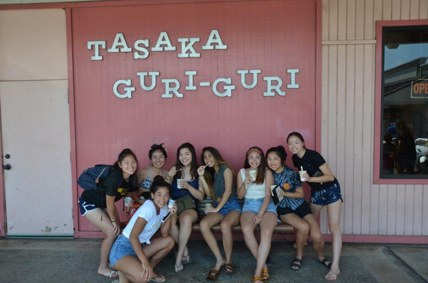 SOL and Halau enjoy some tasty treats at Tasaka Guri Guri. Photograph by Todd Yokotake