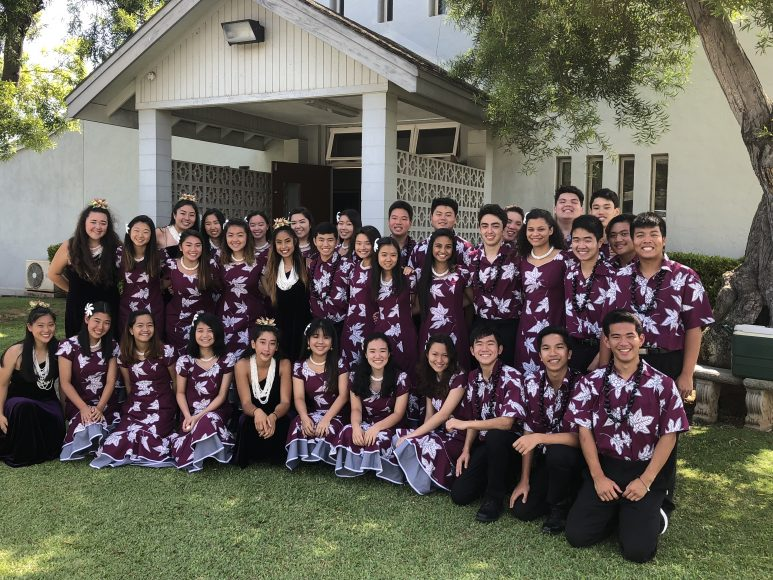 At Kahului Baptist Church, SOL and Halau members take a picture to commemorate one of their last performances of the year. Photograph by Todd Yokotake